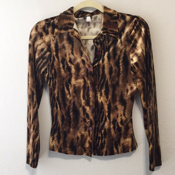 90s Vintage Tiger Print Velour Button Down Shirt